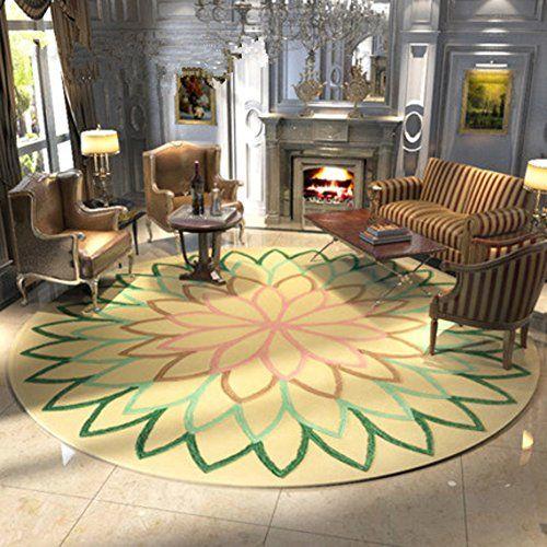 HAOLY Retro Round Carpet,Area Carpet,NonSlip Waterproof