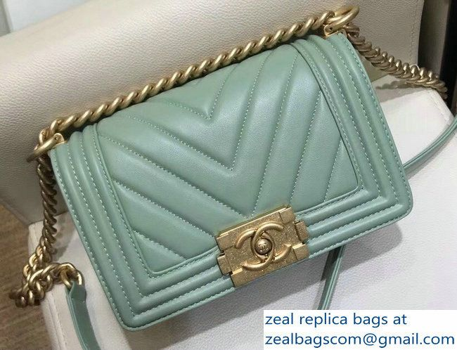 d6882e66677 Chanel Small Lambskin Chevron Boy Flap Shoulder Bag Light Green with Gold  Hardware 2018