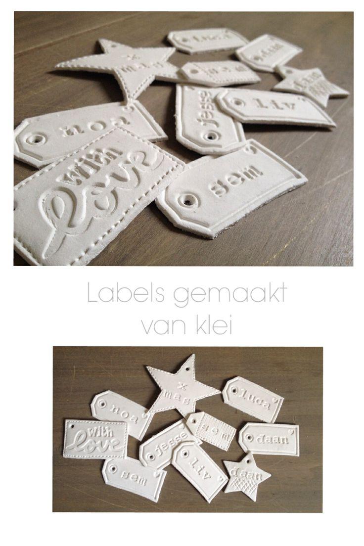 Labels gemaakt van klei leuk om aan een cadeau te hangen