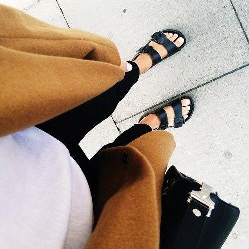 Black Birkenstocks, camel sweater, basics, street style