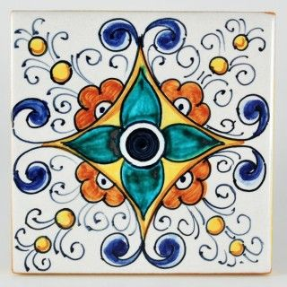 "<p>This ceramic wall and floor tile is entirely hand painted by Francesca Niccacci, an internationally renowned artist from Deruta. Her intricate geometric designs are a unique blend of sophisticated classic patterns and perfectly shaded colors. <br />Niccacci's handmade tiles are available in different sizes and shapes to fulfill any and all conditions or constraints. <a href=""http://www.thatsarte.com/contacts"">Contact us</a> with your ideas and projects: special orders are ..."