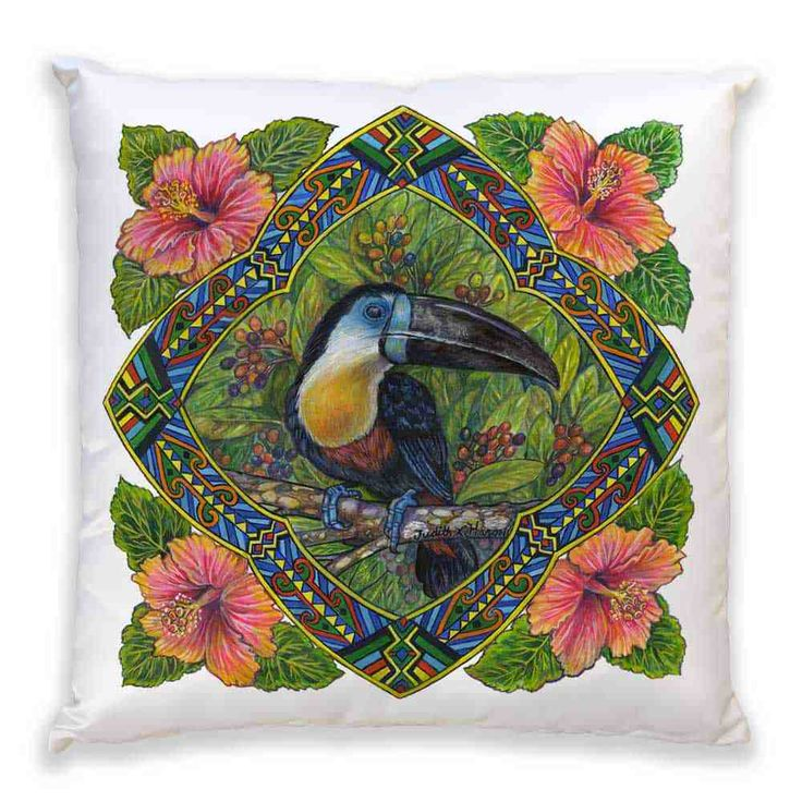 Rainforest tribes use its beak and feathers for tribal ceremonies Accent Pillow ~ Channel Billed Toucan