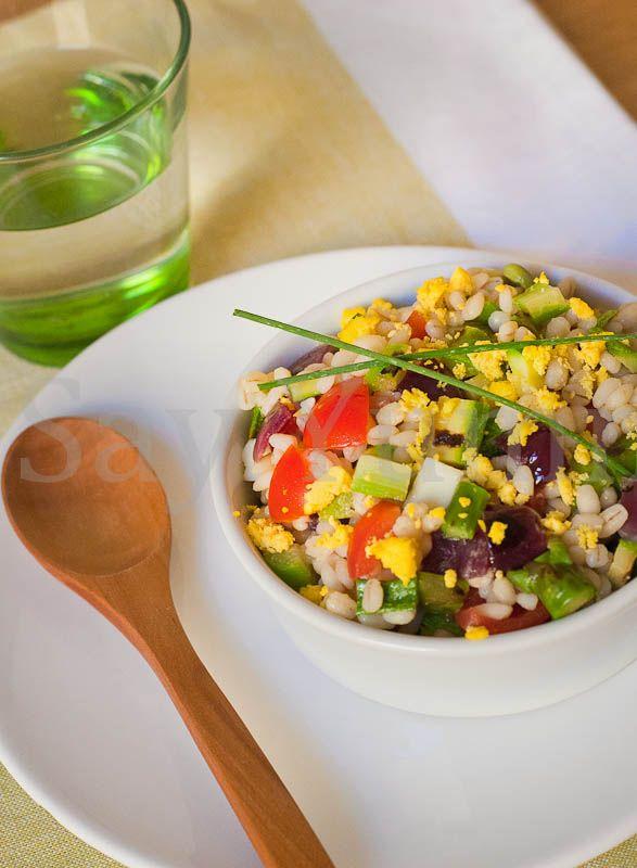 Grilled vegetables barley salad