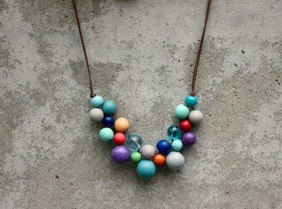 Retro coloured wooden bead necklace, aqua, purple, orange, navy, bib necklace, pastel, contemporary.