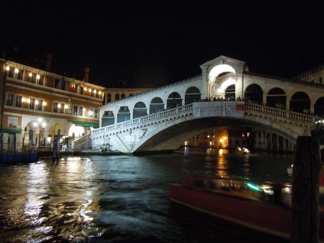 Venice Rialto Bridge by night, Italy, September 2012
