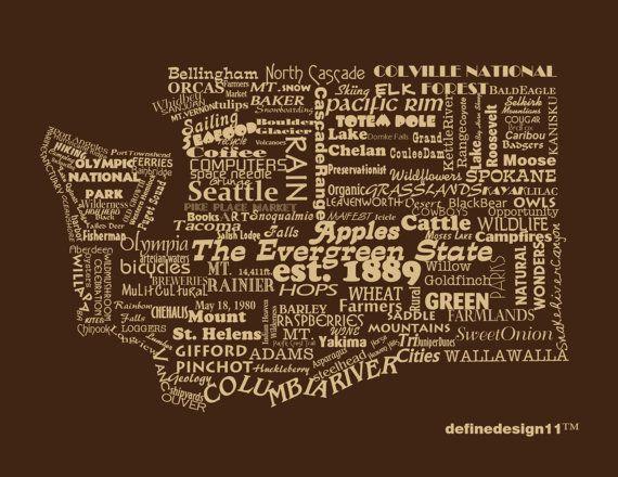Washington State Print  Word Art  Typography The Evergreen State Washington State Pride. $12.00, via Etsy.