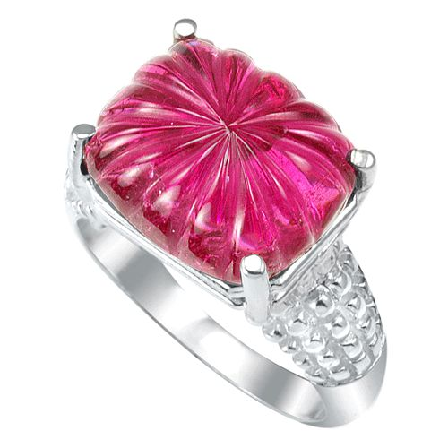 #6002 8 ct. Cushion Cabochon Carving Rubelite Ring in Sterling S