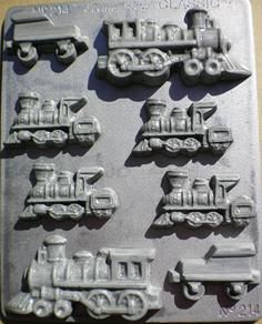 A train lovers delight.... a Trains Chocolate Mould. AKA a locomotive and a tender. Excite a child, or Dad with chocolate trains. Decorate a cake, cupcakes.