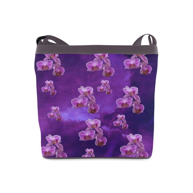 Purple Orchids Crossbody Bag. FREE Shipping. #artsadd #bags #flowers