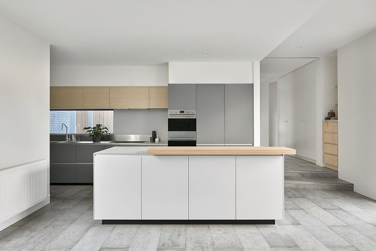 Contermporary Kitchen with Timber Veneer, Stainless Steel Benchtops, Concrete Tile Floor