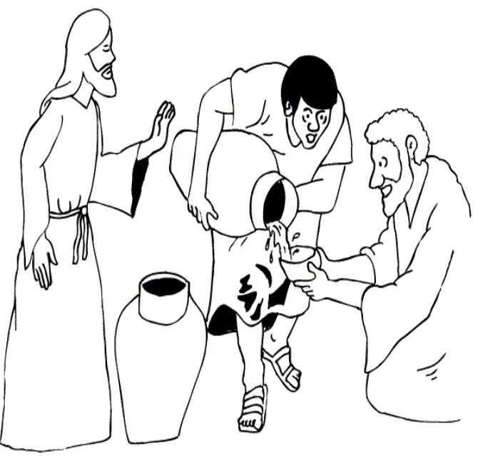 jesus changes water into wine crafts coloring page wedding at cana