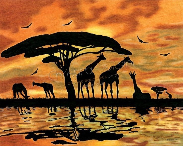 Africa. Mixed media drawing: coloured pencils, pastels, chalk and ink by Christina Doitsini