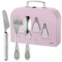 STELTON Penguin Childrens Cutlery Pink --- Bring joy to dining early in life with this stainless steel children's cutlery from Stelton.Designed by Tias Eckhoff, the cutlery features a cute penguin engraved on the handle – and it comes in a cute little suitcase - perfect for toys or maybe a little snack.The set consists of a child-sized knife, fork and spoon.The ideal gift for special occasions such as baptisms, birthdays and Christmas. 3 pcs. children's cutlery in ...