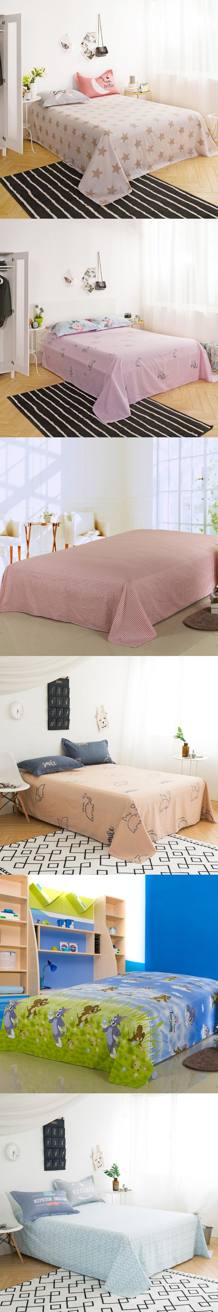 Hot Sale 1pcs Beauty Flowers Flat Sheet 100% Cotton Material Bed Sheet for  Home Bedding