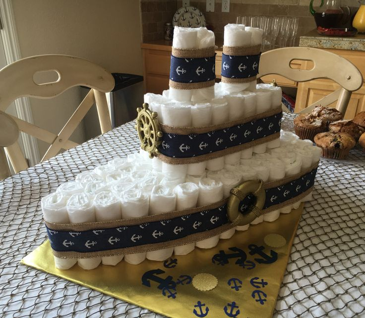 Nautical themed baby shower diaper cake blue and gold ship by ThreeCDesignStudio on Etsy