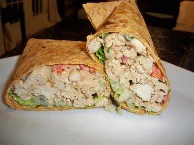 Forget the mayo....hummus chicken salad wraps.Chicken Wraps, Hummus Chicken, Recipe, Chicken Salads, Food, Avocado Chicken Salad, Chickensalad, Chicken Salad Wraps, Hummus Wraps