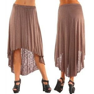 G2 Fashion Square Taupe High Low Knit Maxi Skirt - Polyvore