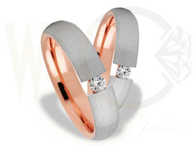 Obrączki ślubne z białego i czerwonego złota z diamentem/ Wedding rings made from white and red gold with diamonds/ 3 144 PLN #gold #diamonds #jewellery #love #weddingrings