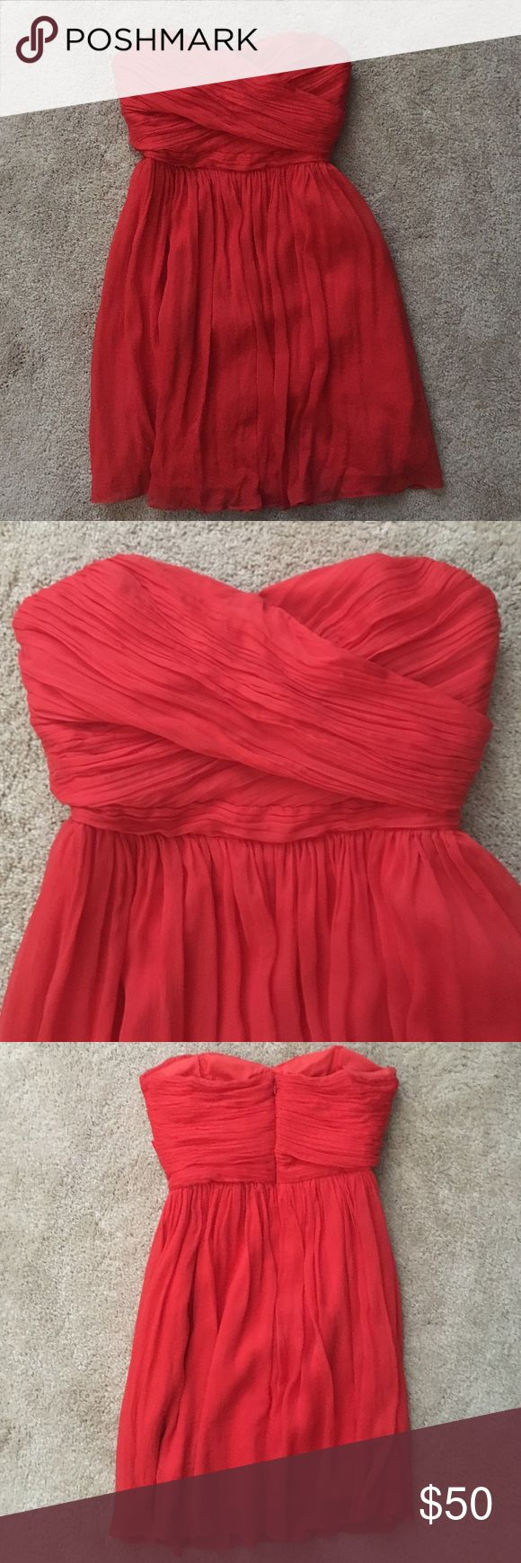 J. Crew Bridesmaids dress in poppy Short chiffon poppy bridesmaids dress with hidden zipper J. Crew Dresses Wedding