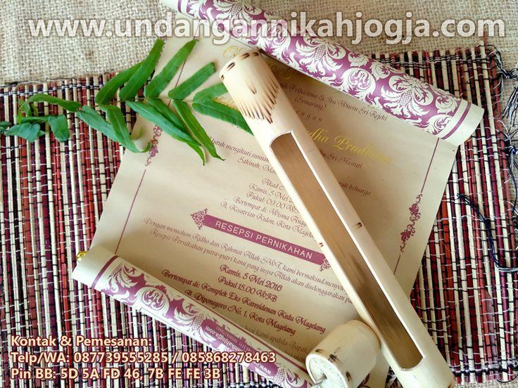 0877 3955 5285 (XL)  jual undangan pernikahan perkawinan nikah nikahan wedding invitation Undangan nikah gulung bambu model kentongan