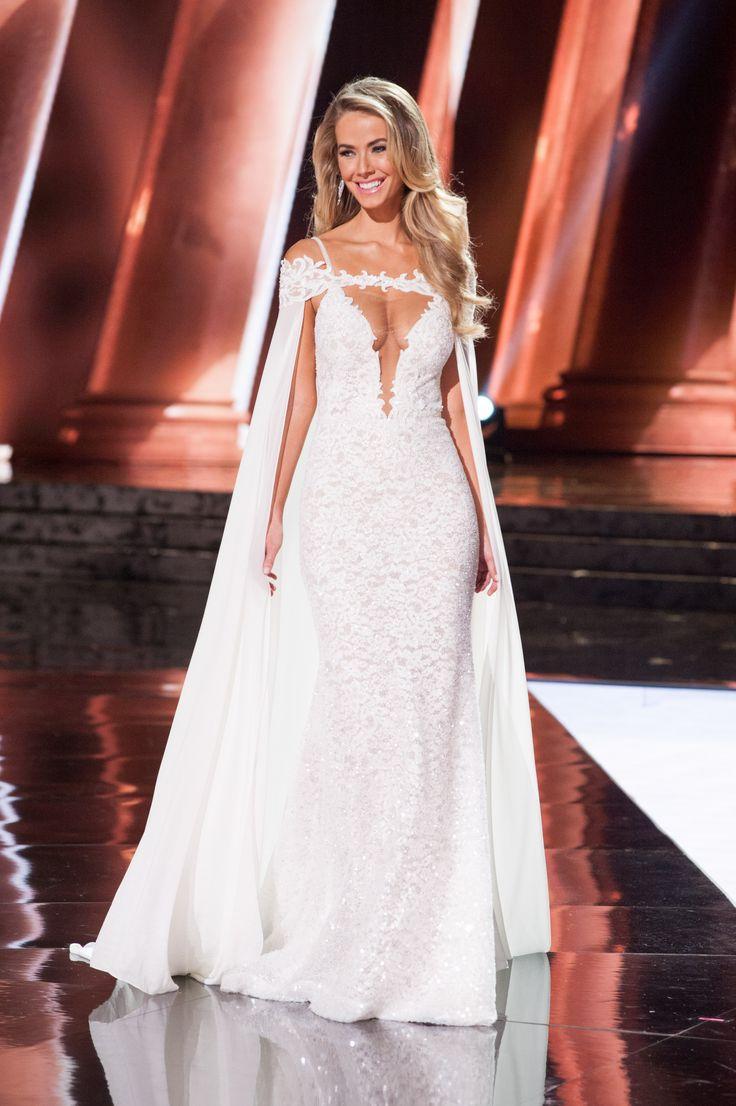 Olivia Jordan, Miss USA 2015 (2nd RU at Miss Universe 2015) wearing Berta Bridal