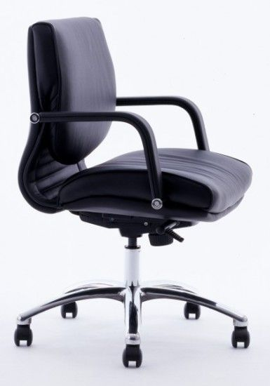 The Classic Low back Executive Chair is standard Upholstered in Luxurious Black Soft Grade Leather, with Leather Fixed Armrests and a Polished Aluminium 5 Star Base. Available at seated.com.au