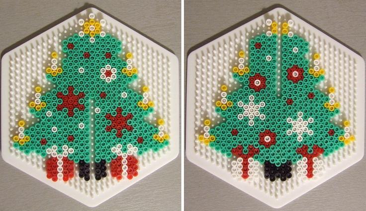 3D Christmas tree pattern hama perler by Les Mercredis de Julie
