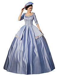 Uma-Peça/Vestidos Gótica Steampunk@ / Vitoriano Cosplay Vestidos Lolita Azul Cor Única 3/4 de Manga Comprimento Longo Vestido Para – BRL R$ 659,07