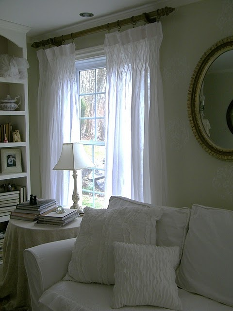 Smocked Panels In White Window Treatments Pinterest