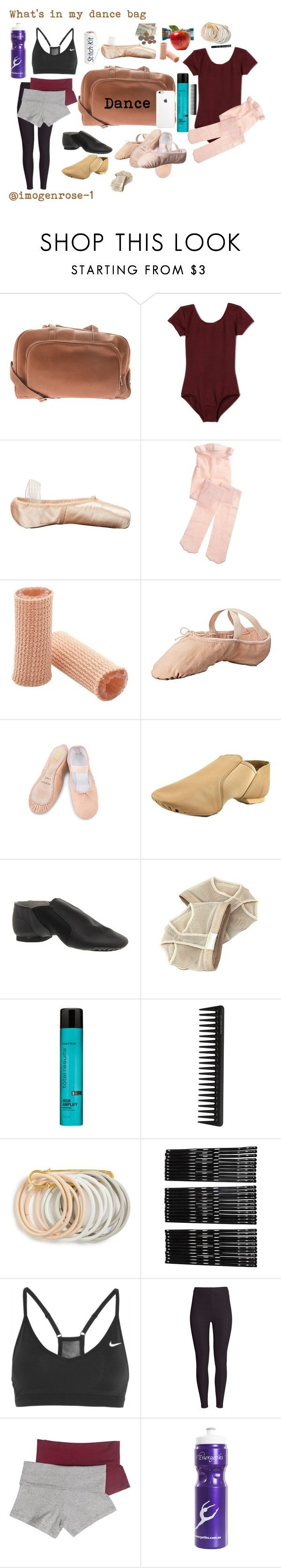 """""""What's in my dance bag"""" by imogenrose-1 ❤ liked on Polyvore featuring Piel Leather, Capezio, Sansha, Bloch Dance, Bloch, Matrix Biolage, GHD, Odeme, Monki and NIKE"""