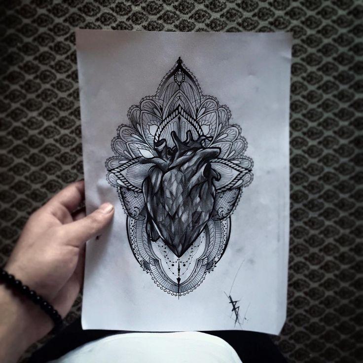 heart, geometric, tattoo, realistic, realistic tattoo, heart tattoo, geometric tattoo, tatuaggio realistico, tatuaggio cuore, tatuaggio geometrico, mandala tattoo, tatuaggio mandala, turin, torino, art, draw, sketch, edwin basha, ink, art.