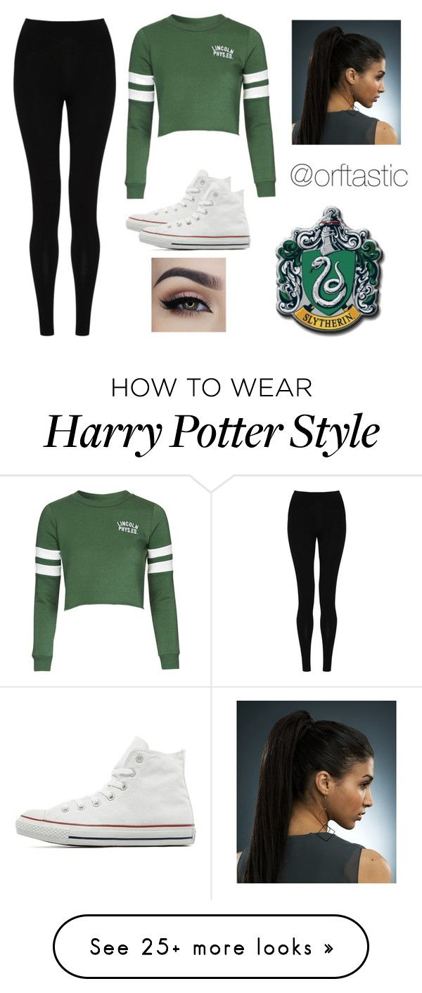 """""""Modern Slytherin ~ Harry Potter"""" by orftastic on Polyvore featuring mode, M&S Collection, Topshop, Converse, modern, women's clothing, women, female, woman et misses"""