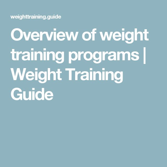 Overview of weight training programs | Weight Training Guide
