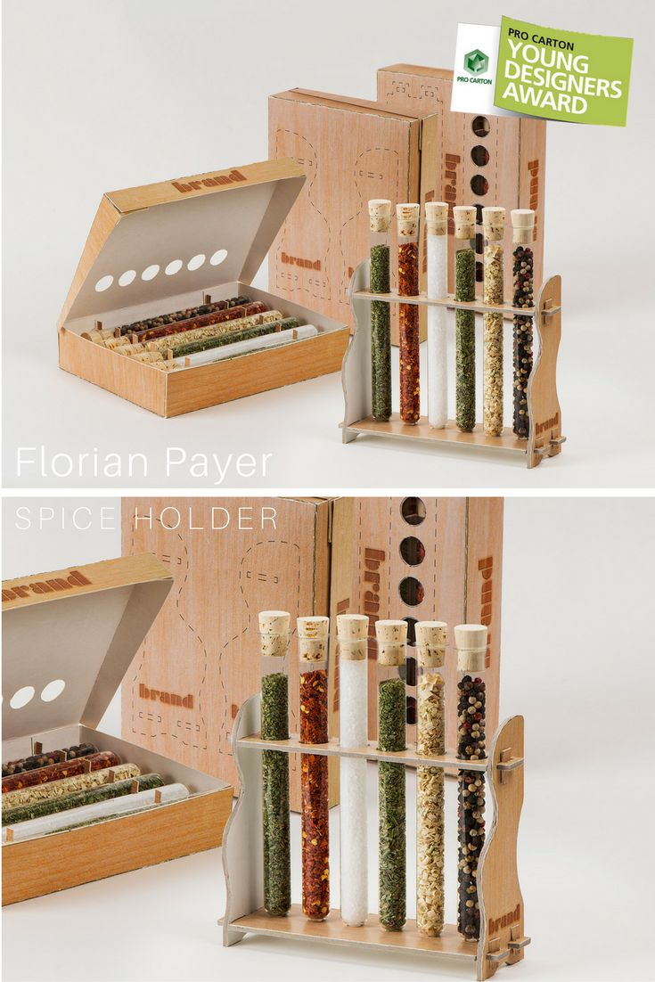 Reusable, sustainable packaging design for spices filled in glass tubes. The completely cut-out holes allow a look at the spices inside the closed box.