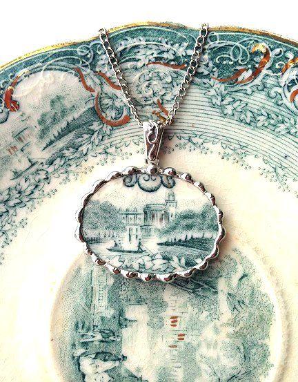 Broken china jewelry oval pendant necklace antique teal green castle English transferware lake scene