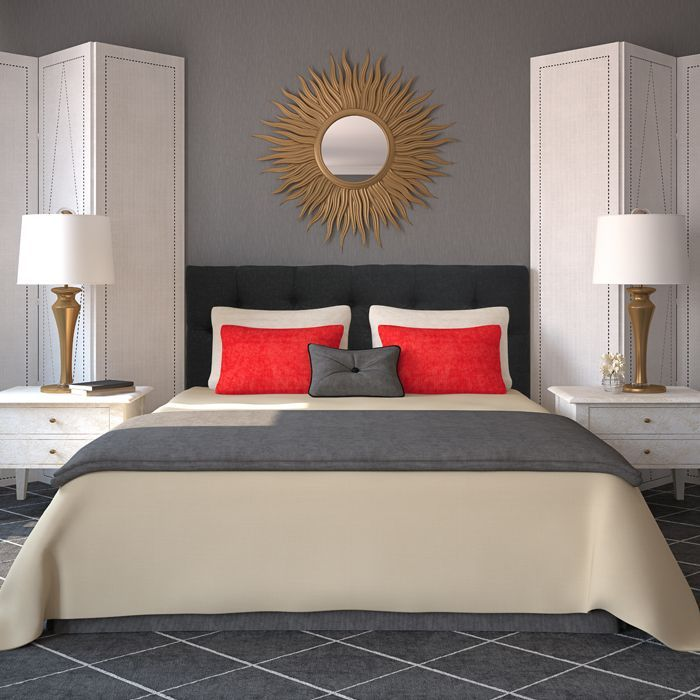 Give Your Bedroom A Stylish Contemporary Makeover With This Black Tufted Fabric Headboard. It