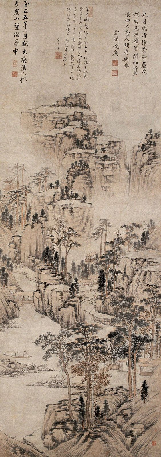 The movement captured in the drawing from the calligraphy style i want my work to show a similar style. Huang Gongwang (1269-1354): In the Yu Mountain |