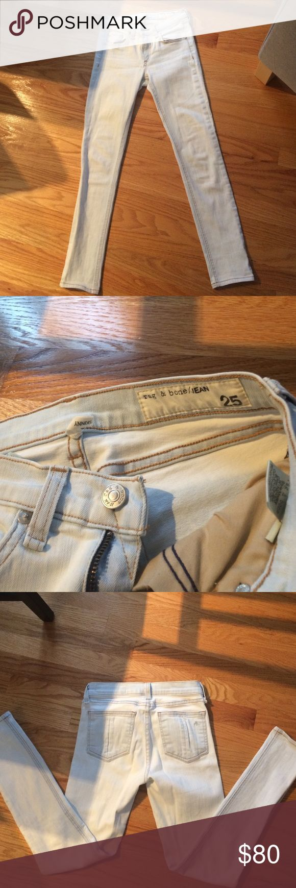 Rag & Bone bleach wash skinny jeans Super cute Rag & Bone bleach wash jeans. Skinny fit and stretchy.  Spring/summer staple! rag & bone Jeans Skinny