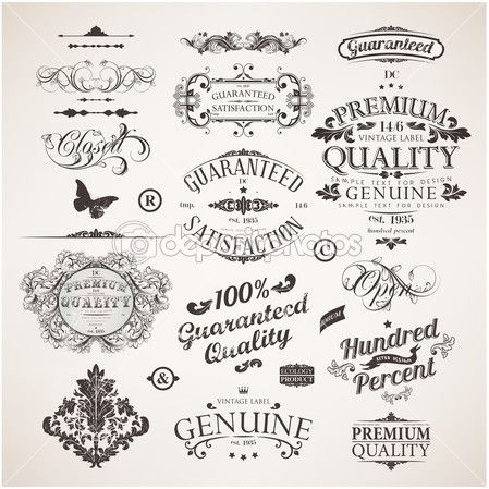 Vector set: calligraphic design elements, flowers and retro frames, Premium Quality and Satisfaction Guarantee vintage design Labels. Old style, vector collection. — Stock Illustration #18307031