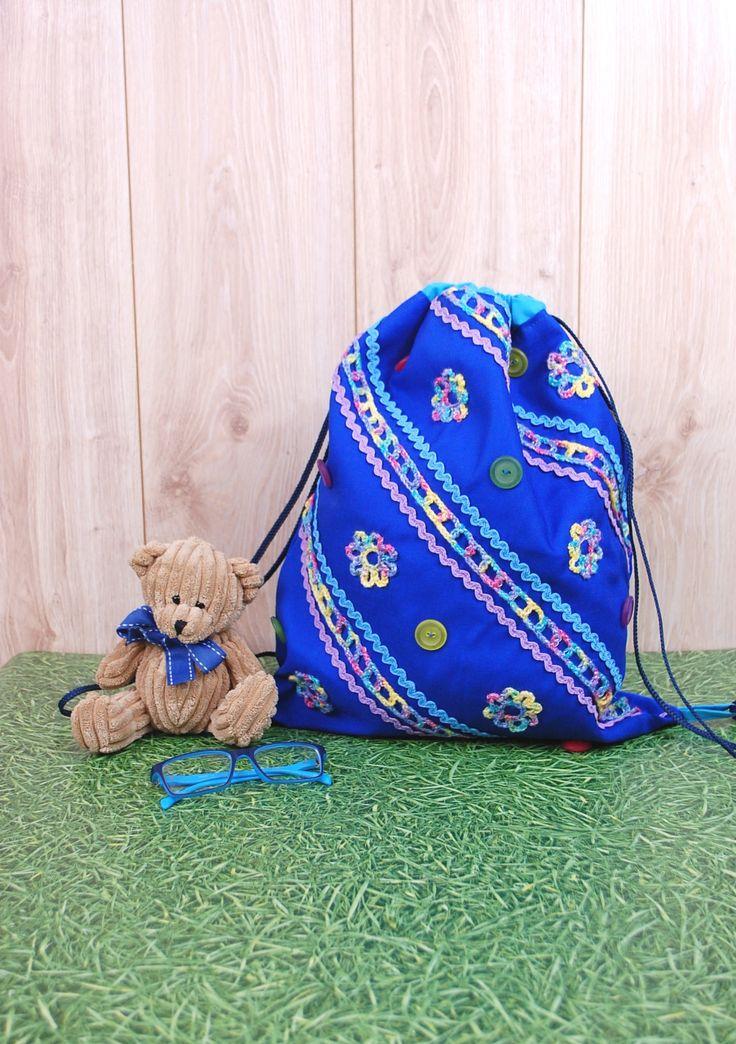 Drawstring Backpack for kids and cool Summer Bag http://etsy.me/2EuIXjo #bagsandpurses #blue #festivalbag #beachbackpack #kidsbackpack #fabricbackpack #drawstringbackpack #canvasbag #forkids #crochet #giftidea #gift #kidstuff #summerbag #brightcolors #cinchbag #unique