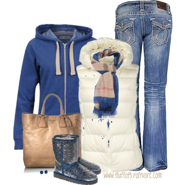 """What a great look for Fall 2013!  """"Brave Soul Women's Adrian Hoodie"""" @$15.00 in cobalt blue is sold out.  Hay market Burberry scarf is $455.00 - ouch!  The gorgeous bag is Prada... $1,480.00 ...again - ouch!   But the vest is only $20.00."""