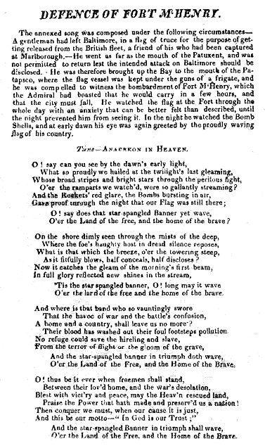 "(14) Francis Scott Key:  ""Defence of Fort M'Henry"".  Copy of the 'broadside'"