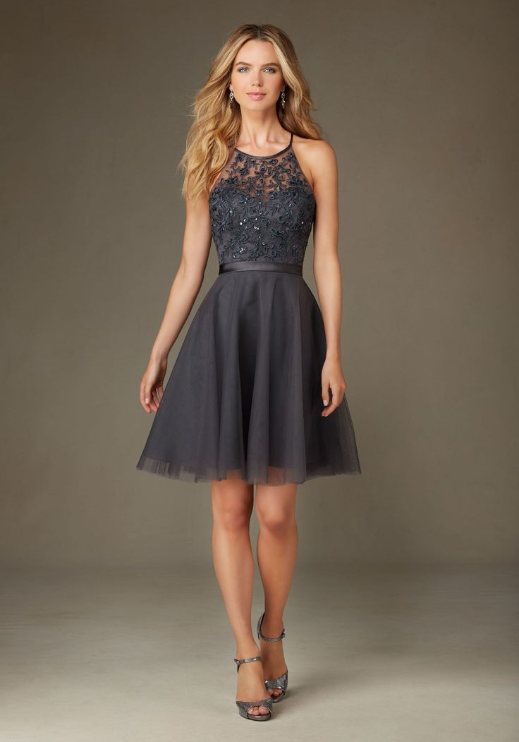 Short Tulle Bridesmaid Dress with Embroidery and Beading with Satin Waistband Designed by Madeline Gardner. Shown in Charcoal.