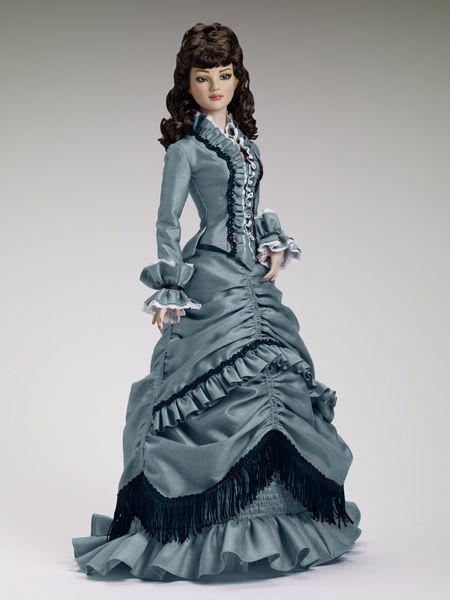 "$224.99 - Tonner American Models Charming Lady - Outfit only  Fits 22"" American Model™  Blue jacket with white lace trim and black ribbon trim  Blue skirt with black trim  White petticoat  Faux leather boots to match  Includes a mink curly saran wig  LE 100"