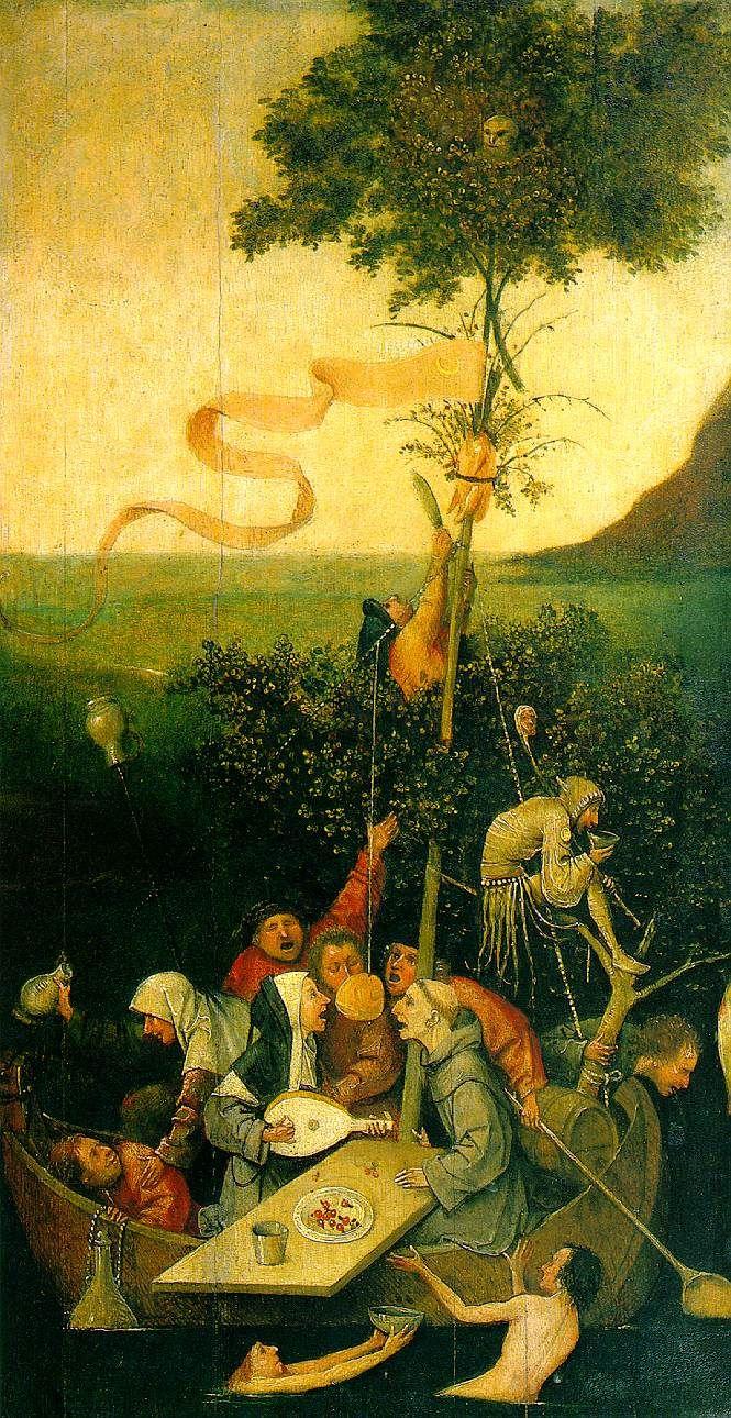 LA NAVE DE LOS LOCOS (El Bosco). Se presentan tipos entresacados de la hez humana: el bufón, los borrachos, el novicio goliardo CANTANDO , la monja tocando el LAUD . La barca donde se come, se bebe y se canta, va a la deriva. El mástil es un árbol de Mayo; entre sus hojas espía el diablo, y pende del palo un cráneo descarnado de caballo.[4] Los protagonistas de esta pintura son la monja y el fraile franciscanos que se encuentran tan distraídos, intentando hincar el diente en un pedazo de…