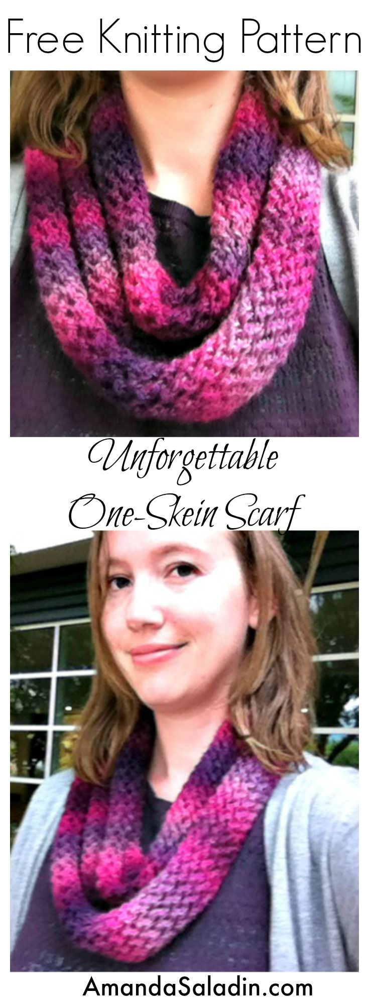 This is the knit version of the popular Unforgettable One Skein Scarf using Red Heart Boutique Unforgettable yarn for amazing color change.