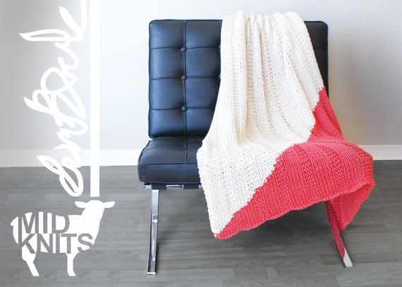 "DIY Knitting PATTERN - Triangle Color Blocked Throw Blanket  Size: 37""x49"" (2015001)"