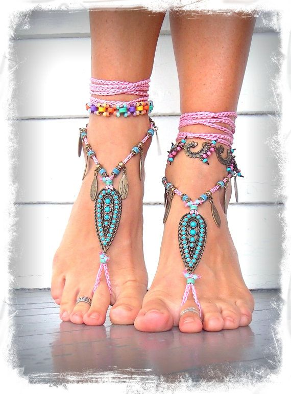 PINK Indie BAREFOOT Sandals Brass Toe Anklets crochet Gypsy Sandals sole less shoes Wanderlust crochet anklets ORANGE Barefoot Wedding