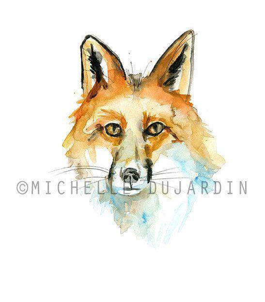 Aquarel vos  Origineel Dier Schilderij vosje  door Zendrawing