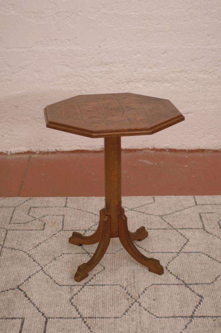 Antique Oak Carved Octagonal Pedestal End Table - Harrington Galleries